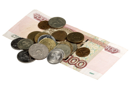 The note hundred rubles and small coins - the Russian money Stock Photo
