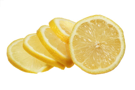 acidic: The lemon is sliced is isolated on a white background