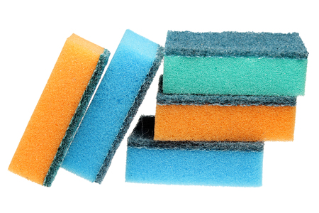 house ware: Scouring sponge it is isolated on a white background   Stock Photo