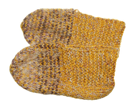 Woolen sock of handwork it is isolated on a white background