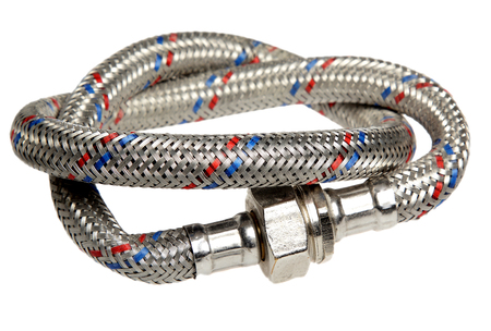 Hose metal, wattled for bathroom equipment, it is isolated on a white background