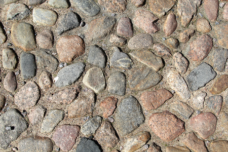 cobblestone road: Stone laying of a cobblestone road Stock Photo