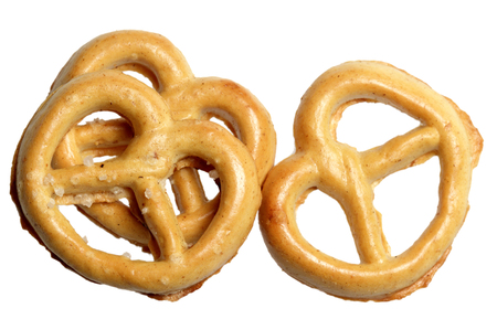 Pastries in the form of a pretzel it is isolated on a white background Stock Photo