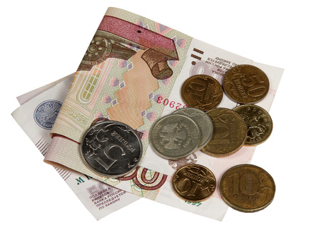 Russian money - a hundred and five rubles and coins on white background Stock Photo