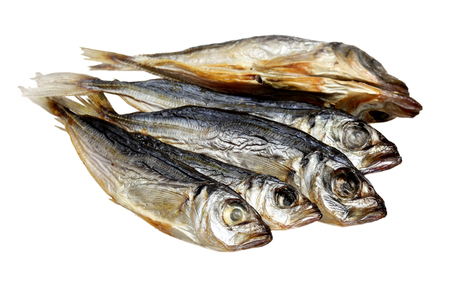 Fish a dried sprat it is isolated on a white background