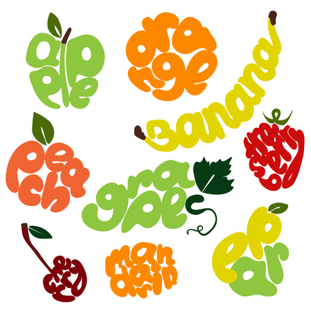 eat healthy: fresh fruit lettering set drawn by hand
