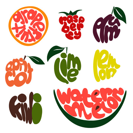 eat healthy: Colorful Fruit lettering set of 9 objects Illustration