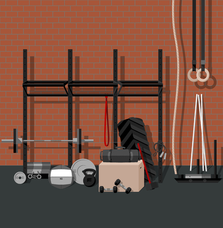 Sport gym flat set, BONUS brick seamless pattern. Colors are global