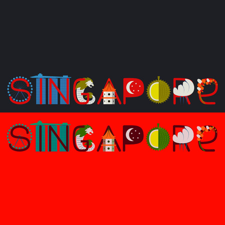 graphic icon: Singapore word title with culture symbol illustration Illustration