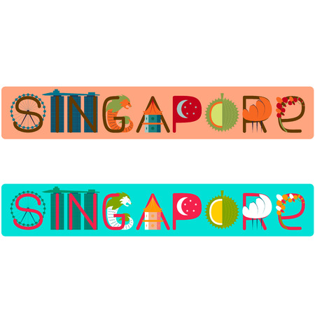 singapore culture: Singapore word title with culture symbol illustration Stock Photo