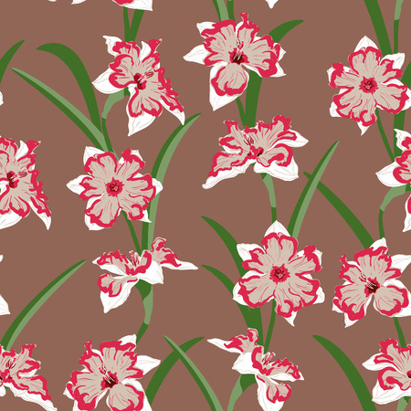 jonquil: narcissus with leaves seamless vertical vector pattern Illustration