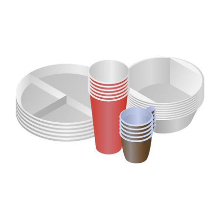 Kunststof schalen en borden vector set van 4 objecten
