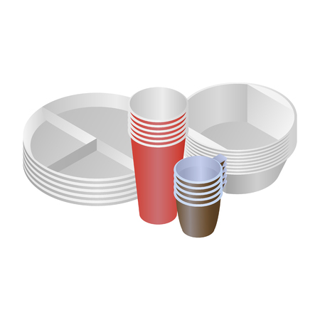 Plastic dishes and plates vector set of 4 objects