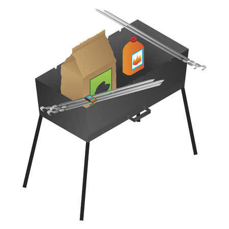 chafing dish: Vector brazier, liquid fire and coal illustration