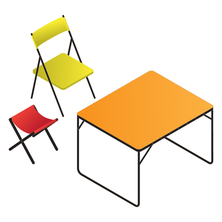 portative: Bright portable plastic table and two chairs Illustration
