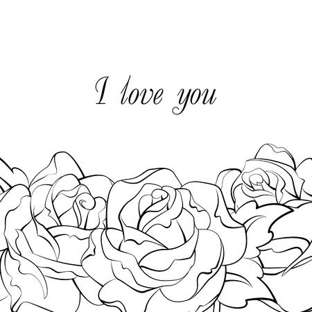 white roses: black and white roses card I love you