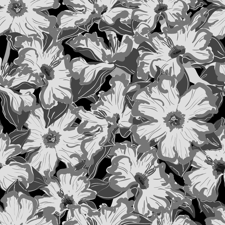 narcissus: narcissus seamless vector pattern black and white Illustration