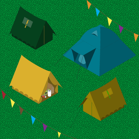 point of view: Four camping tents set isometric view point