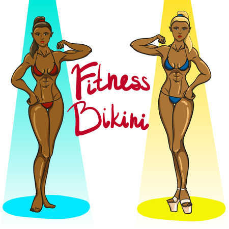 girls in bikini: Two fitness bikini girls in light spots Illustration