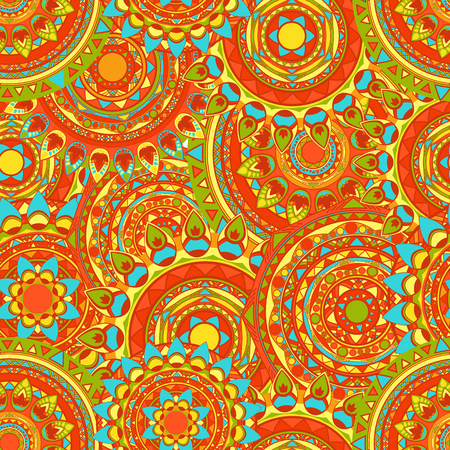 mandala seamless vector patterns in summer colors Illustration