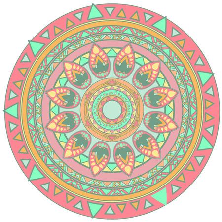 vector mandala design element in pastel colors
