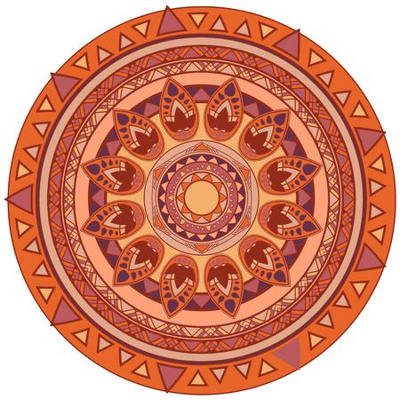 vector round mandala design element coffee colored Illustration