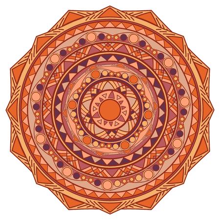 model motive: vector round mandala design element coffee colored Illustration