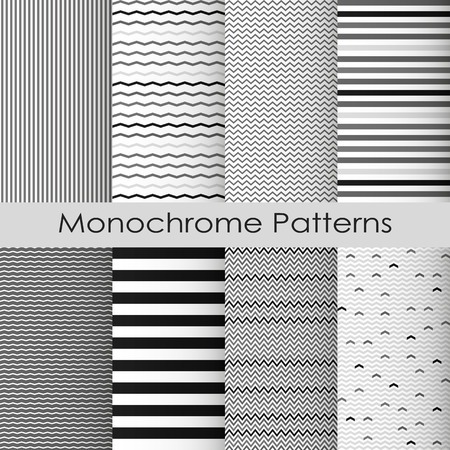 mid century: Simple Monochrome Chevron and Stripes patterns set