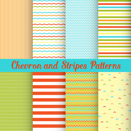 digital paper: Simple Summer Chevron and Stripes patterns set Illustration