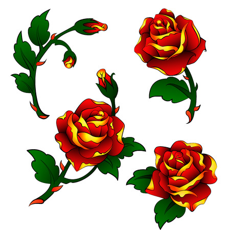 oldschool: vector tattoo roses clipart in oldschool style