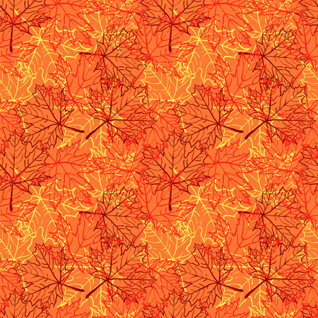 colores calidos: autumn outlined leaf seamless pattern warm colors