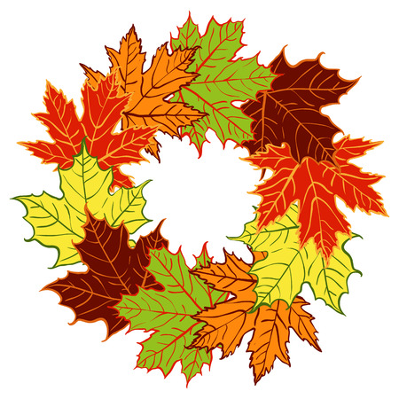 vector Autumn wreath made of maple leaves