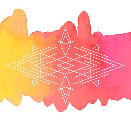 Watercolor and Geometry Vector Background in bohemian style