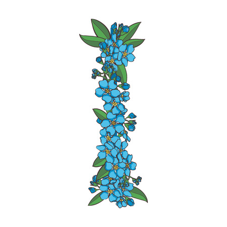 forget me not: Forget me not vector alphabet. Letter I