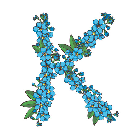 Forget me not vector alphabet. Letter K Illustration