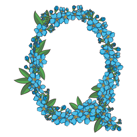 Forget me not vector alphabet. Letter Q