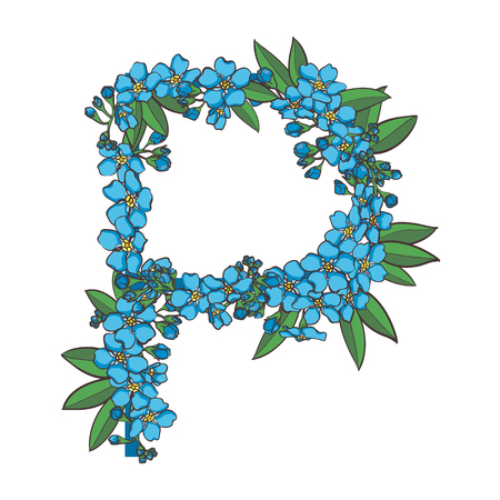 Forget me not vector alphabet. Letter P