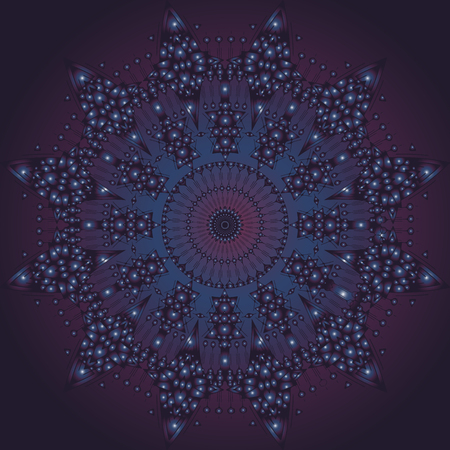 tantric: Vector Space Mandala Sign. Imitating stars in deep Space.