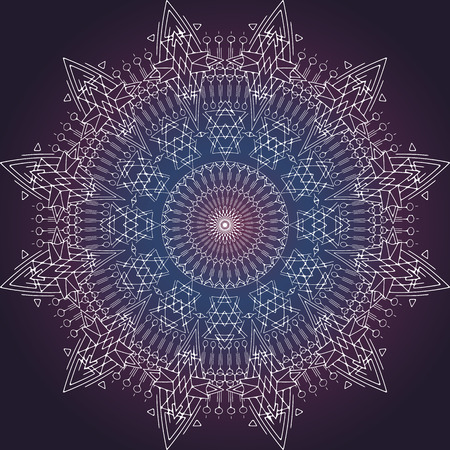 sacral: Vector Space Mandala Sign. Imitating deep Space. Sacral meaning