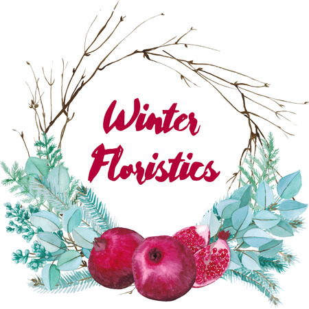 floristic: Vector watercolor floristic composition. Pomegranate and spruce twigs wrearh. Winter wedding decoration
