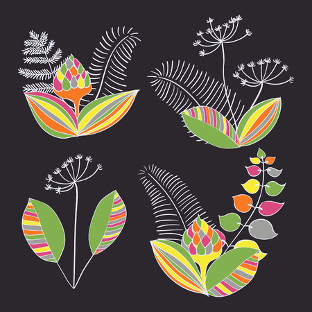 ornaments floral: Scandinavian vector floral ornaments. Set of simple hand drawn elements in nordic style for your designs.