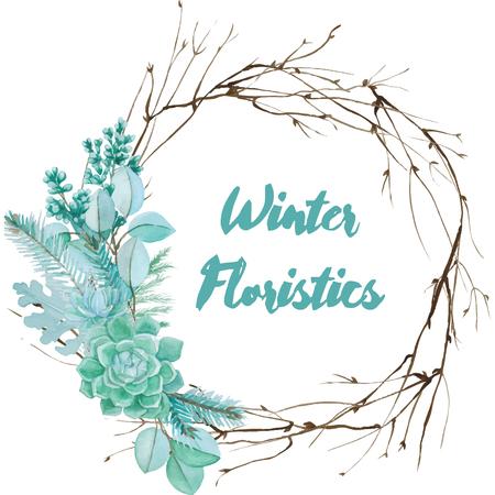 Winter aquarel floristische samenstelling van vetplanten en zilver bladeren. Vector decoratief element voor uw ontwerp. Sappige aquarel grens. Stock Illustratie