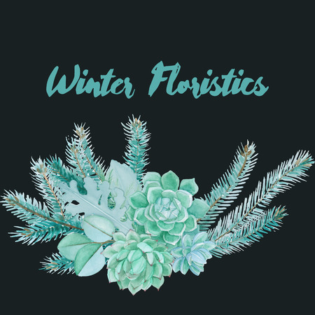 floristic: Winter watercolor floristic composition made of succulents and silver leaves. Vector decorative element for your design. Succulent watercolor border. Illustration