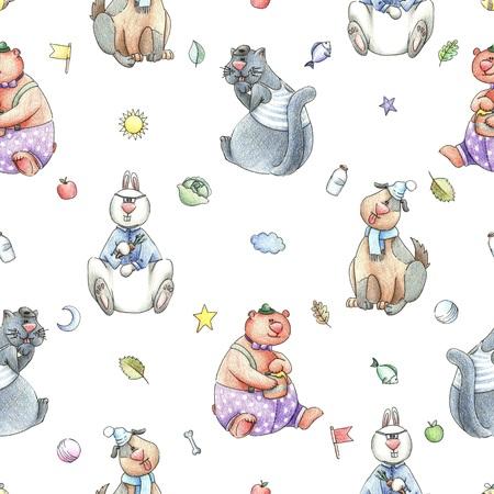 cute bear: Rerto Baby Seamless Hand Drawn Pattern
