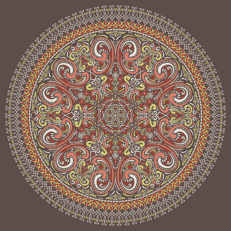 whorls: Vector Hand Drawn Round Ornate Rosette. Swirls and whorls background for your design.