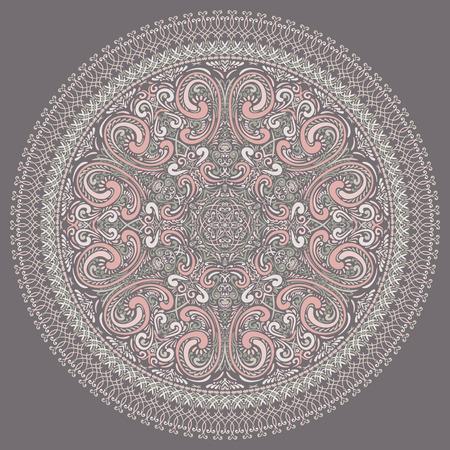 Vector Hand Drawn Round Ornate Rosette Illustration
