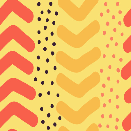 Hand Drawn Chevron and Dots Vector Seamless Pattern Illustration