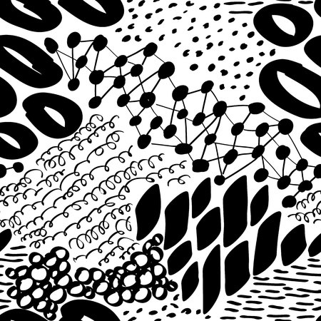 Complex Hand Drawn Circles and Dots Vector Seamless Pattern.