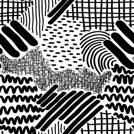 Complex Hand Drawn Stripes and Dots Vector Seamless Pattern. Ilustração Vetorial