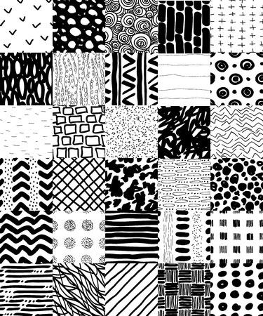 Rę cznie rysowane bez szwu Vector Patterns Set.